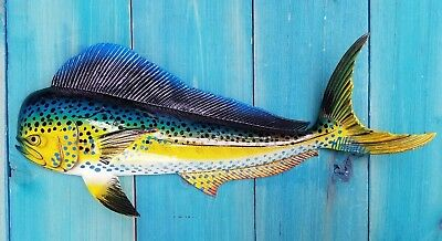 "Mahi Hand Painted 18"" Replica Dorado Wall Mount Sculpture Game Fish Salt Water"