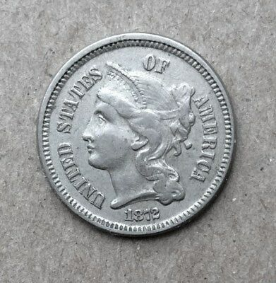 1872 3 Cent Nickel - full LIBERTY - nice shape!