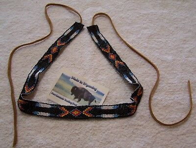 Hand Made Beaded Hat Band Rendezvous Black Powder Mountain Man 5
