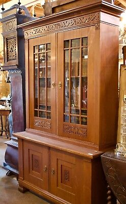 Carved Mahogany Bookcase  ARTS AND CRAFTS - c 1900 - From Denmark - Mission