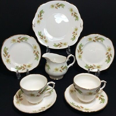 Lovely Duchess Tea Set for two: 2 tea cup trios, milk jug, cake plate Immaculate