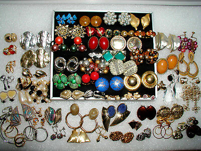 Large Lot Of Clip & Screw-on Earrings. Big Assortment. Vintage/Now. All wearable
