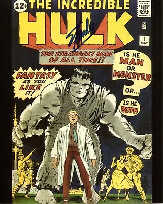 Stan Lee signed Incredible Hulk 8x10 Photo FE COA + Proof. Spiderman, Iron Man.