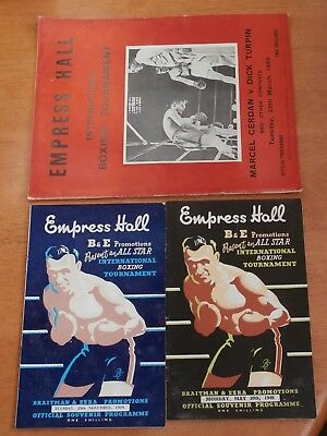 3 x Empress Hall International Boxing Tournament Official Programmes from 1949