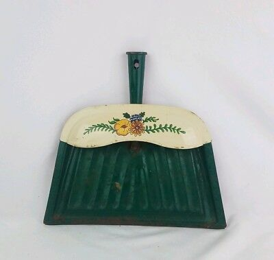 Vintage JV Reed Green Metal Dust Pan Floral Print Rustic Country