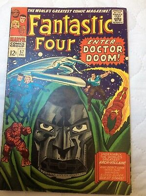 FANTASTIC FOUR #57 SILVER SURFER + DOCTOR DOOM SILVER AGE Cents Issue 1966