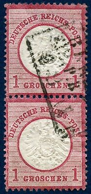 Germany 1872-74 used pair 1 g  red, large shield
