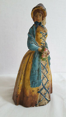 Authentic Antique Cast Iron Figural Doorstop Woman in Shawl with Flowers