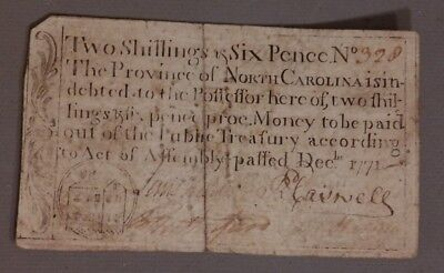 1771 Antique COLONIAL CURRENCY 18thC NORTH CAROLINA Old 2 Shillings 6 Pence NOTE