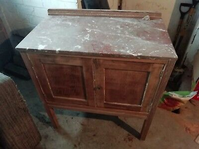 Antique Cupboard Sideboard with Marble Top