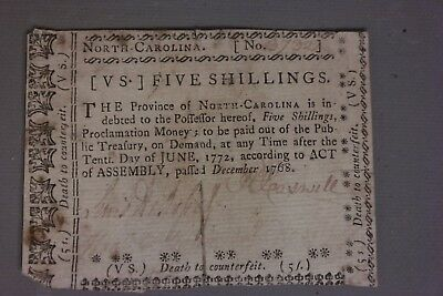 1768 Antique COLONIAL CURRENCY 18thC Death NORTH CAROLINA Old 5 Shillings NOTE