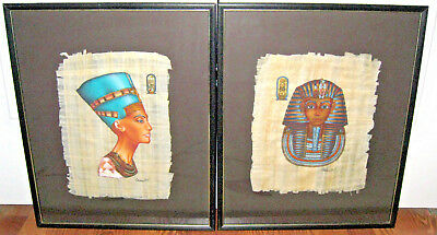 Set of Framed Egyptian Papyrus Paper of King Tut and Queen Neferitti Reduced