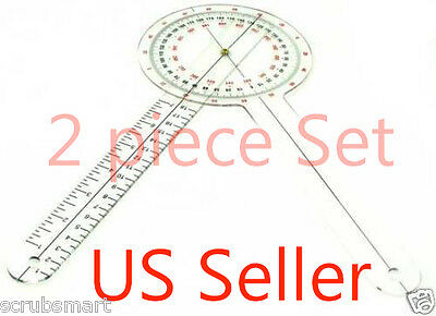 "NEW! 2 - 12"" inch Goniometer Physical Therapy - 2 piece lot - US Seller"