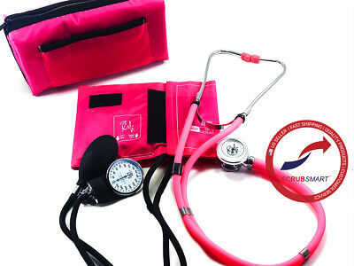 Pink #330 SET Manual Blood Pressure Sphygmomanometer & Sprague Stethoscope
