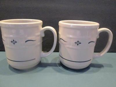 "Longaberger Pottery 2 Blue Woven Tradition Mugs 4 "" High Gently Used Condition"
