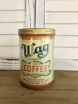 Coffee Tin WAG  BRAND COFFEE VINTAGE GRAPHICS COLLECTIBLE  Coffee Can