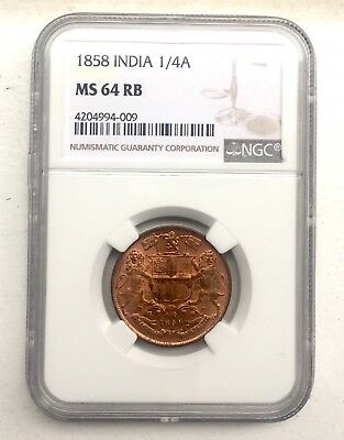 India 1/4 Anna  1858 Ms 64 Rb Ngc #4204994-009