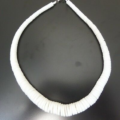 Graduated Natural White Clam Shell Large Necklace 20""