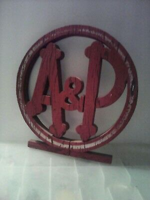 Vintage A & P Wooden Display Sign Grocery A& P  Sign