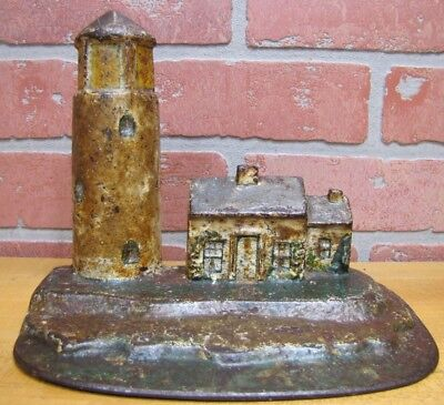 Antique Cast Iron LIGHTHOUSE Keepers Home Figural Doorstop Decorative Art Statue