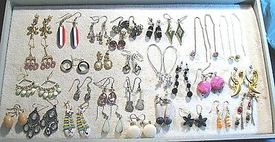 GREAT LOT of 30 PAIR VINTAGE & RETRO DROP/DANGLE EARRINGS for PIERCED EARS