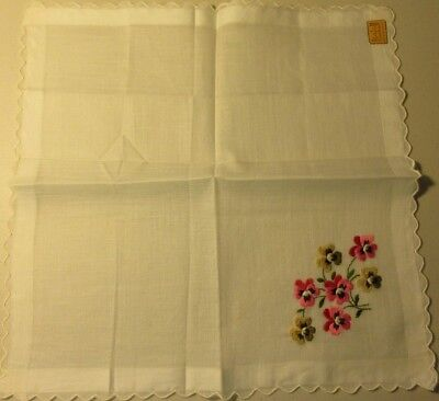 Vintage Embroidered Pink & Gold Pansy Hankie Handkerchief w/Kimball Sticker