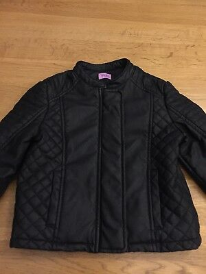 Girls Black Faux Leather Coat Age 3-4 Years