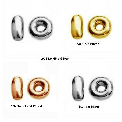 10 Sterling Silver Rondelle Spacer Beads 3.5mm Gold Plated Bead Multi Listing