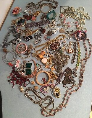 Large Job Lot Of Broken Junk Jewellery/Vintage-Now/Craft/Harvesting Stones Etc