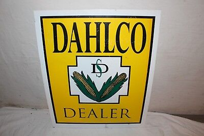 "Vintage Dahlco Dealer Seed Corn Farm 22"" Metal Sign~Nice"