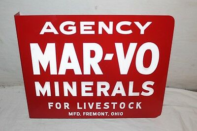 "Vintage 1950s Mar-Vo Feed Chicken Cow Pig Farm 2 Side18"" Metal Flange Sign~Nice"