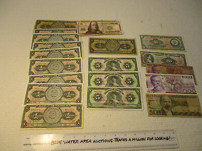 (18) Pc LOT Mexico Banknote s, Mexican, 1943 - 1981, 1 - 500 Peso, Good to CU
