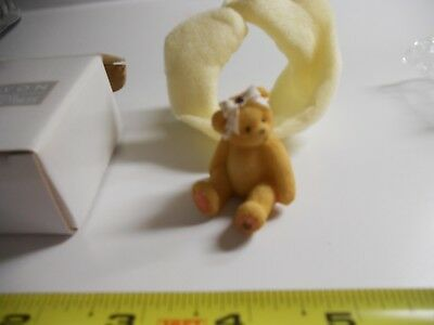 AVON Cherished Teddies Sparkles Mini-Figurine- February ~ Amethyst ~ 1998