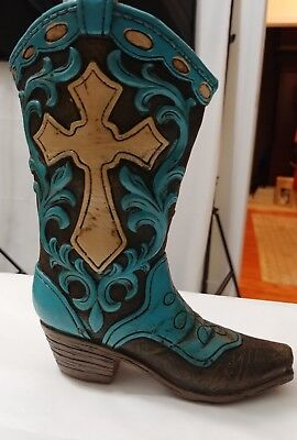 Rainbow Ceramic Cowboy Boot Planter Holder Psalm 27 Brown Turquoise