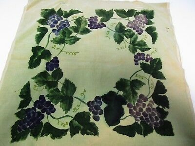 "Vintage Victorian 1800's 21"" Sq Printed Grapes Velvet Panel"