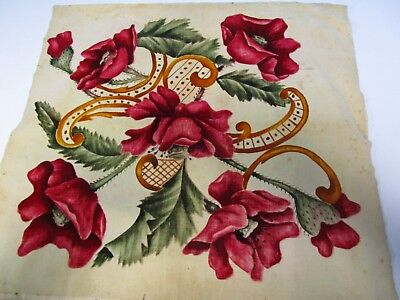 "Vintage Victorian  1800's Printed Velvet 21"" Sq Panel Poppies"