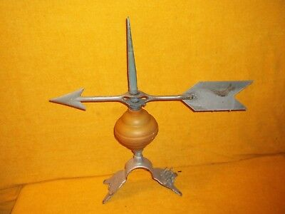 "VTG 17"" Aluminum Arrow WeatherVane On 12"" Lightning Rod With Base PAT 1928"