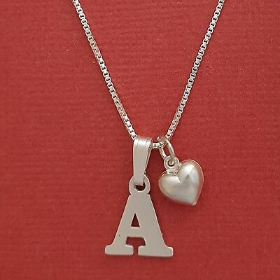 Sterling Silver Initial Letter Necklace Alphabet Heart Solid 925 pendant n chain