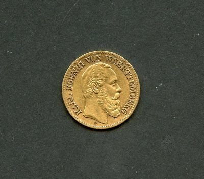 Germany 1872F Wuerttemberg 10 Mark  Gold Coin  You Do The Grading