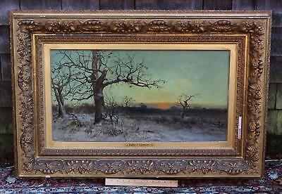 19thC Antique FRANK C BROMLEY Winter Snow Western Sunset Landscape Oil Painting