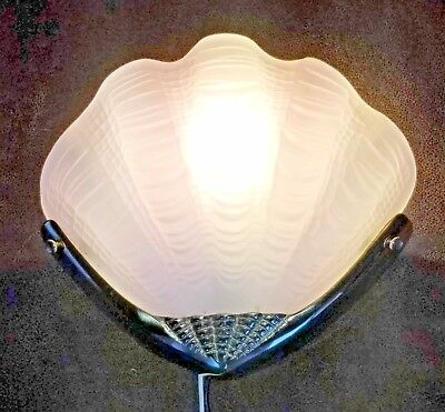 Vintage Art Deco Clam or Sea Shell Frosted Glass Brass Light Fixture Sconce