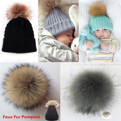 12cm Multicolor Fox Fur Fluffy Pom Pom Ball with Snap Button Hat Accessories Hot