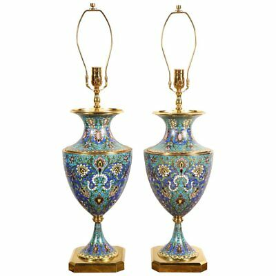 Large Pair of French Gilt Bronze-Mounted Champleve Cloisonne Enamel Table Lamps