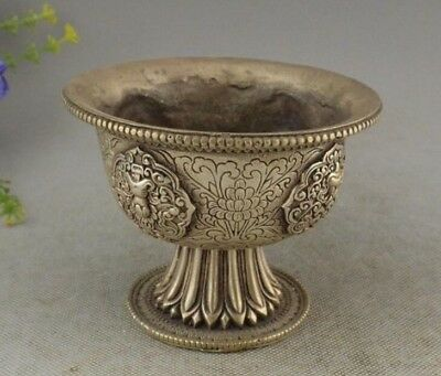 China old copper plating silver Small Bowl Tea Cup Statue Set Bowls Antique e01