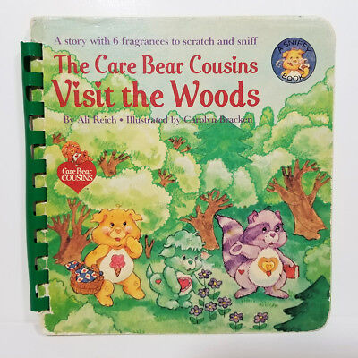 CARE BEAR COUSINS VISIT THE WOODS BOOK Vtg SCRATCH N SNIFF Treat Heart Pig