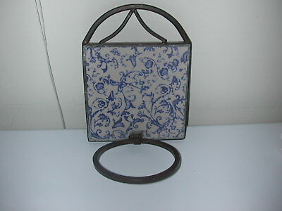 Vintage Wrought Iron and Ceramic Tile Wall Plant Holder