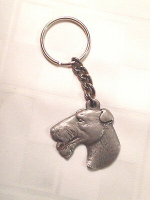 "Vintage Pewter Rawcliffe ""i Love My Wire-Haired Fox Terrier Key Chain 1982"