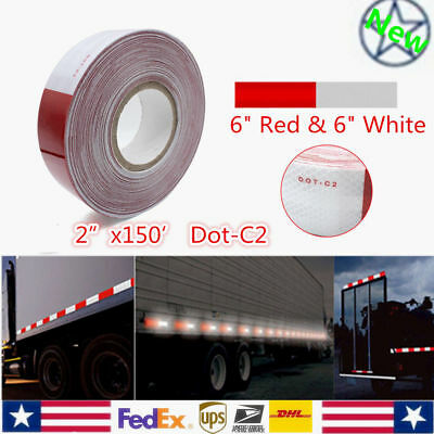 "1 Roll 2""x150FT DOT-C2 Red White Reflective Conspicuity Safety Tape for Truck"