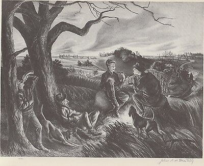 JOHN S.DeMARTELLY'S 1939 Lithograph BLUE VALLEY FOX HUNT Vintage American Art