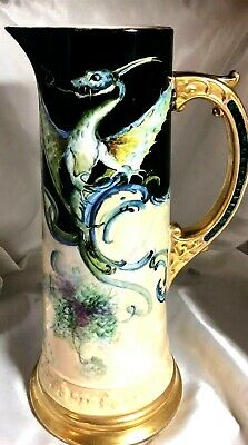 SUPERB Willetts Belleek Hand Decorated Beautifully Colored Dragon HUGE Tankard
